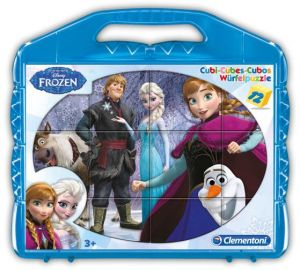 CLEMENTONI Dětské obrázkové kostky  ( kubus ) - Frozen  12 kostek v kufříku 41410