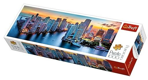Puzzle TREFL 1000 dílků - panorama - Miami za soumraku 29027