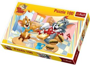 TREFL Puzzle  100 dílků -  Tom a Jerry  - Vynikající snídaně 16196