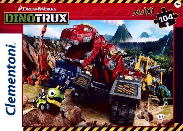 CLEMENTONI Dětské MAXI puzzle 104 dílků Dinotrux 23983