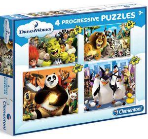 Puzzle Clementoni  - 20, 60, 100 a 180 dílků  -  Dreamworks   07710
