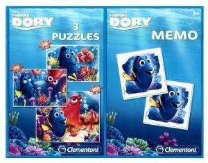 Puzzle Clementoni 2x60  + 100  dílků + Memos ( pexeso ) - Hledá se Dory  07811