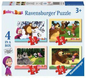 Puzzle Ravensburger 12, 16, 20 a 24 d.  4 v 1  - Máša a medvěd  070282