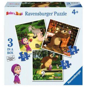 Puzzle Ravensburger 25, 36 a 49 d.   3 v 1  - Máša a medvěd  070275