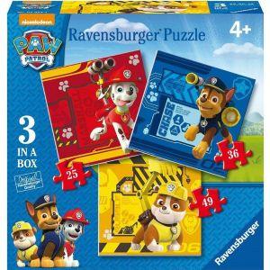 Puzzle Ravensburger 25, 36 a 49 d.   3 v 1  - Psí Tlapková Patrola  070572