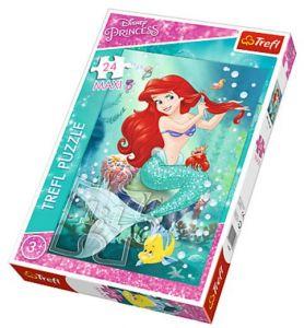 Trefl  puzzle Maxi 24 dílků - Ariel - podvodní salón krásy 14248