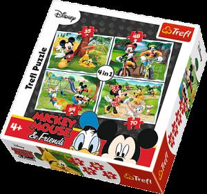 35, 48, 54 a 70  dílků -  4v1  Mickey - V parku  -  puzzle   Trefl  34261