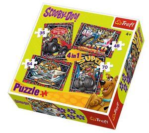35, 48, 54 a 70  dílků -  4v1  Scooby Doo   -  puzzle   Trefl  34257