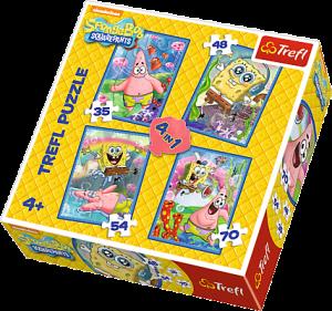 35, 48, 54 a 70  dílků -  4v1  Sponge Bob   -  puzzle   Trefl  34264