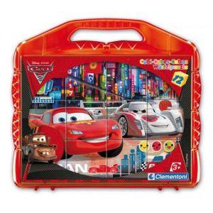 CLEMENTONI Dětské obrázkové kostky  ( kubus ) - CARS  12 kostek v kufříku 41160
