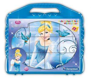 CLEMENTONI Dětské obrázkové kostky ( kubus ) - Popelka 12 kostek v kufříku  41409