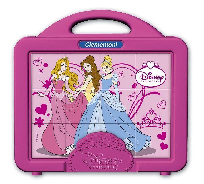CLEMENTONI Dětské obrázkové kostky ( kubus ) - Princezny 12 kostek v kufříku 41341