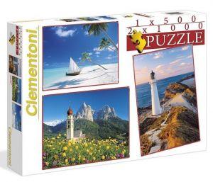 Puzzle Clementoni 2 x 1000 + 1 x 500 dílků Krajina 08104