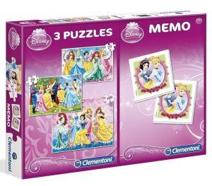 Puzzle Clementoni 2x20  + 100  dílků + Memos ( pexeso ) -  Princezny 07806
