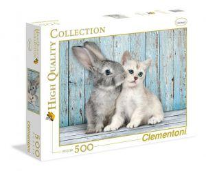Puzzle Clementoni 500 dílků  Kočka a králík  35004