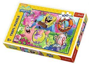 Puzzle Trefl 100 dílků - SpongeBob v kalhotách 16300