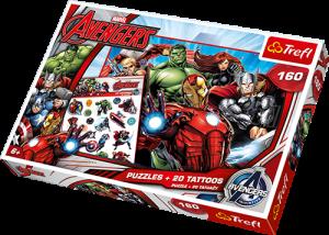 Puzzle Trefl 160 dílků + 20 tetovaček  -  Avengers  90501