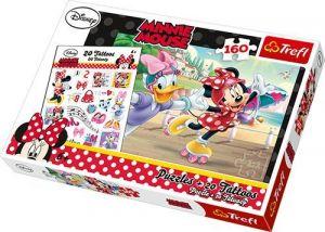 Puzzle Trefl 160 dílků + 20 tetovaček  -  Minnie Mouse - Daisy na bruslích   90504