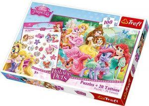 Puzzle Trefl 160 dílků + 20 tetovaček  -  Princezny   90502