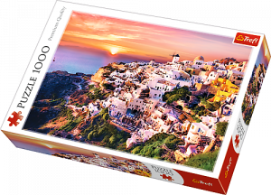 TREFL Puzzle 1000 dílků - Západ slunce nad Santorini Řecko 10435