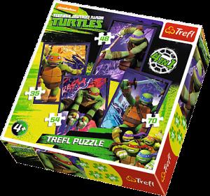 35, 48, 54 a 70  dílků -  4v1  Želvy ninja  -  puzzle   Trefl  34266
