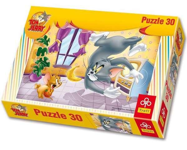 30 dílků - Tom a Jerry - ovocná bitva - puzzle Trefl 19150