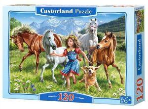 Puzzle Castorland 120 dílků - Dívka s koňmi   13029