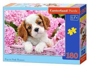 Puzzle Castorland 180 dílků -  Štěňátko v růžových květinách  018185