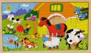 Dřevěné puzzle  15 dílků  30 x 18 cm - Venkov