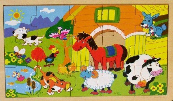 Dřevěné puzzle 15 dílků 30 x 18 cm - Venkov Playme - Brimarex