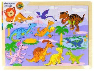 Dřevěné puzzle  20 dílků  31 x 22 cm - Dinosauři II