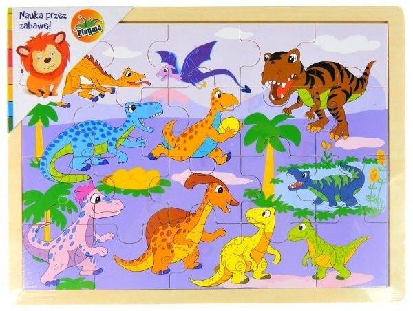 Dřevěné puzzle 20 dílků 31 x 22 cm - Dinosauři II Playme - Brimarex