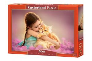 Puzzle Castorland 500 dílků - Holčička s koťátkem   52370