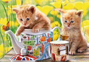 Puzzle Castorland 500 dílků - Koťátka s čajem 52356