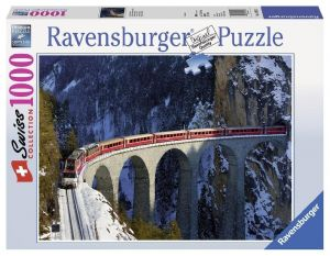puzzle Ravensburger 1000 dílků -  Vlak na mostě přes řeku  Landwas  193523