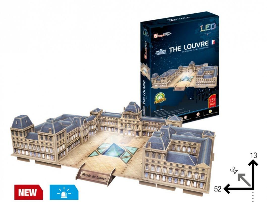 3 D Puzzle CubicFun - Louvre muzeum, Paříž 137 d. LED - svítící 20517 Cubic Fun