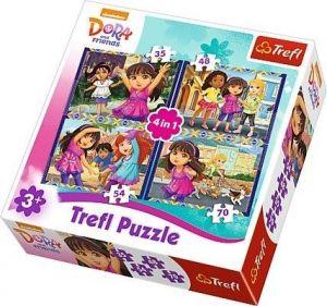 35, 48, 54 a 70  dílků -  4v1  Dora   -  puzzle   Trefl  34265