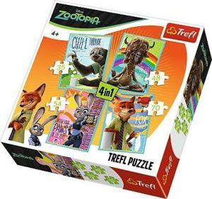 35, 48, 54 a 70  dílků -  4v1  Zootropolis   -  puzzle   Trefl  34258