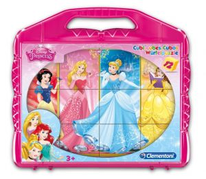 CLEMENTONI Dětské obrázkové kostky ( kubus ) - Princezny 12 kostek v kufříku  41181