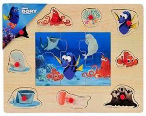 Dřevěné puzzle 6 dílků + vkládačka 10 dílků - 30 x 22 cm -  Hledá se Dory