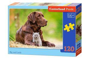 Puzzle Castorland 120 dílků - Velký a malý  - Pes s koťátkem 13326