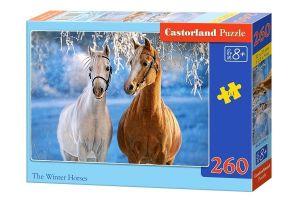 Puzzle Castorland 260 dílků - Koně v zasněžené krajině  27378