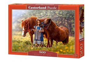 Puzzle Castorland 500 dílků - Holčička s poníky 52509
