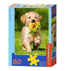 Puzzle Castorland 60 dílků - Pejsek s růží 06939
