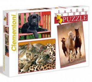 Puzzle Clementoni 2 x 1000 + 1 x 500 dílků Zvířata 08103