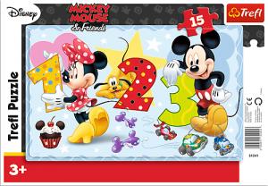Puzzle Trefl v rámečku ( rámkové ) - Mickey Mouse -  Počítání 31241