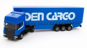 TEAMA - tahač Scania s návěsem - skříň  3.ass  1:48  - modrá  barva