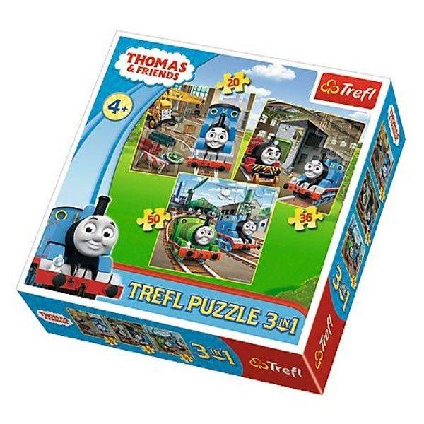 Trefl Puzzle 3v1- 20 36 50 dílků - Mašinka Tomáš 34821