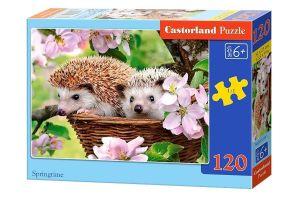 Puzzle Castorland 120 dílků - ježci v košíku 13319