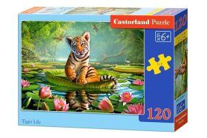 Puzzle Castorland 120 dílků - Tygřík na leknínu 13296